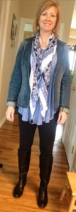 blue free people shirt, denim blazer, leggings, scarf