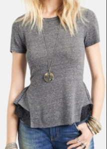 free people gray peplum T