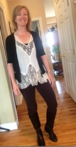 Free People lace tank top, anne taylor sweater, leggings, boots