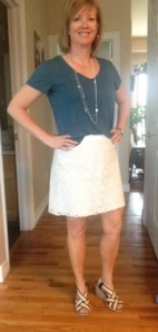 lace skirt, blue tshirt, beige and navy sandals