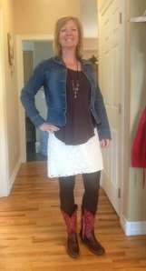 lace skirt, brown shirt and leggings, cowboy boots